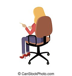 Woman Sitting on Chair and Pointing on Something - Woman...