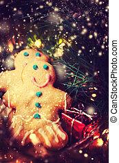 festlicher, aus,  -, dunkel, hintergrund, Plätzchen, Dekorationen, Lebkuchen, Weihnachten, Mann