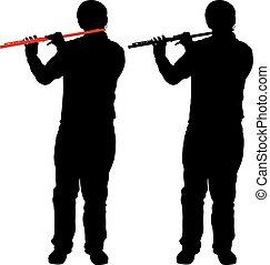silhouette, de, musicien, jouer, les