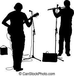 silhouettes, Musiciens, jeux, les, gui