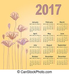 Stylish calendar with flowers for 2017. Week starts on...
