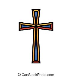 Colorful religious Christian cross crucifix design. Vector illustration.