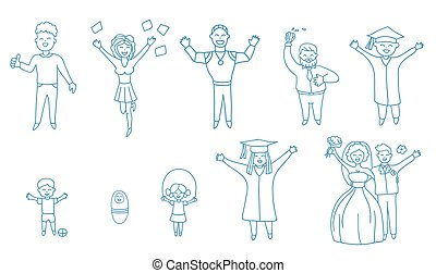 Joyful happy laughing people. Line icon for web, mobile and infographics.