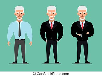 Elegant elderly Businessman in three different poses and clothes. Cartoon character. Flat illustration