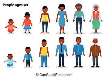 The set of people of different ages on the rise, from infant to the old man. African american ethnic people. Flat