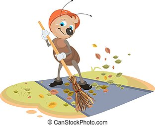 Janitor ant sweeps fallen leaves - Janitor ant sweeps broom...