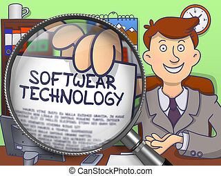 Softwear Technology through Magnifier. Doodle Concept. -...