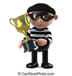 3d Burglar has the gold cup trophy award - 3d render of a...