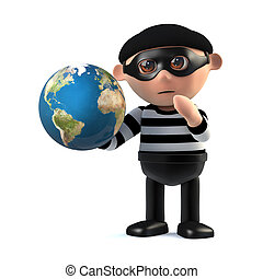 3d Burglar holds the world in his hands - 3d render of a...