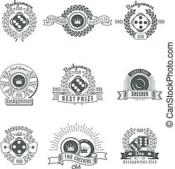 Backgammon Clubs Vintage Style Emblems - Backgammon clubs...