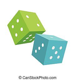 Blue and Green Dices Isolated on White Background - Dices...