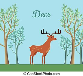 Red Deer in the Forest. Ruminant Mammal - Red deer in the...