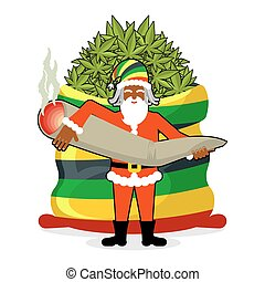 Rasta Santa Claus wishes. Big Red sack hemp . Bag of marijuana. Pile of green cannabis. great joint or spliff. Smoking drug. Cheerful grandfather with dreadlocks and Rastafarian hat. New Year in Jamaica