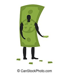 Money Mascot man promoter. Male in dollar costume handing out flyers. Cash puppets engaged in advertising goods