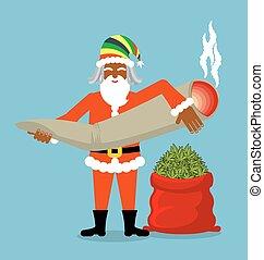 Rasta Santa Claus wishes. Big Red sack hemp . Bag of...