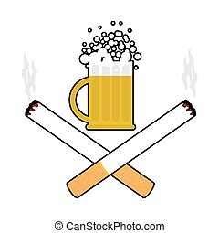 Beer and cigarettes. Alcohol and smoking sign. Logo for harm health. Emblem for harmful products