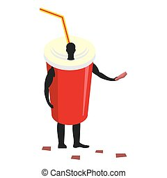Paper cup man mascot promoter. Male in suit drink distributes flyers. Puppets bowl engaged in advertising goods