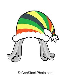Rasta cap for Santa Claus. Rastaman dreadlocks festive hat....