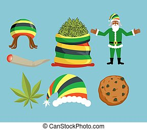 Rasta New Year icons set. Santa Claus and Big sack hemp. bag of marijuana. pile of green cannabis. Large joint or spliff. Smoking dope. Cheerful grandfather and Rastafarian hat. Christmas in Jamaica