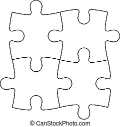 Solved jigsaw puzzle of four pieces