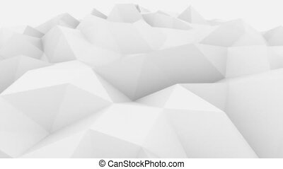 Low poly white and grey abstract polygonal modern motion...