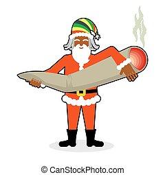 Rasta Santa Claus great joint or spliff. Smoking drug....