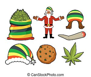 Rasta Christmas icons set. Santa Claus and Big sack hemp. bag of marijuana. pile of green cannabis. Large joint or spliff. Smoking dope. Cheerful grandfather and Rastafarian hat. New Year in Jamaica