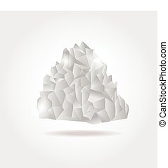 Polygonal iceberg in the sea. Low poly design. Polygon...