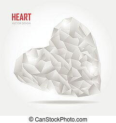 Grey Polygonal heart