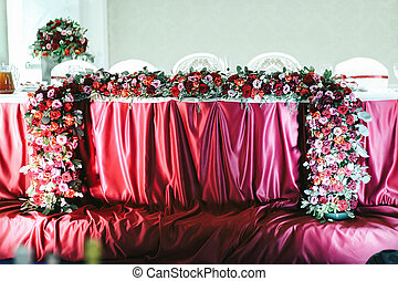 Red wedding  table pictured from the front