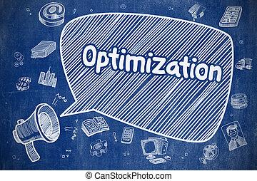 Optimization - Cartoon Illustration on Blue Chalkboard. -...