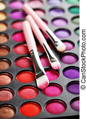Makeup brush set with palette, close up