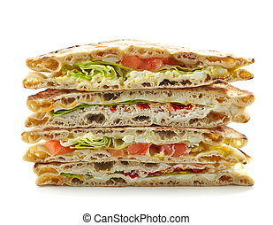 stack of various sandwiches
