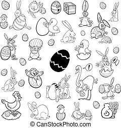 easter themes set - Black and White Cartoon Illustration of...