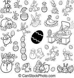 easter characters set - Black and White Cartoon Illustration...