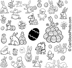 big easter collection - Black and White Cartoon Illustration...