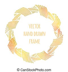 Hand drawn wreath made in vector. Leaves garlands. Romantic...