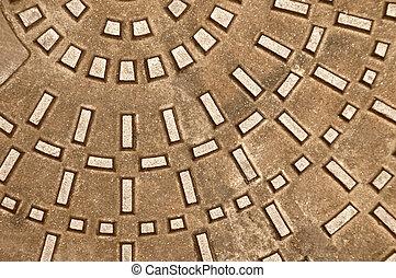Cast iron manhole :background or texture