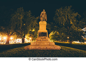 Daniel Webster statue at night, in Washington, DC.