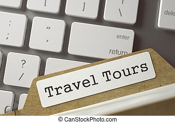 Sort Index Card with Travel Tours. 3D. - Folder Index with...