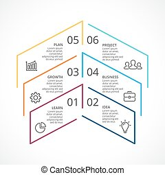 Vector up arrows linear infographic, diagram chart, graph...