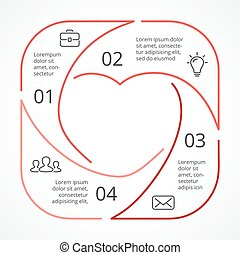 Vector heart circle linear infographic. Template for love...