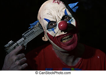evil clown pointing a gun to his temple - closeup of a scary...