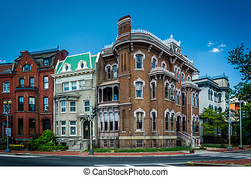 Historic row houses along Logan Circle, in Washington, DC.