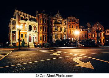 Long exposure of traffic and historic houses at Logan Circle...