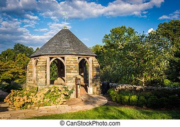 Gazebo in the Bishop's Garden and the Washington National...