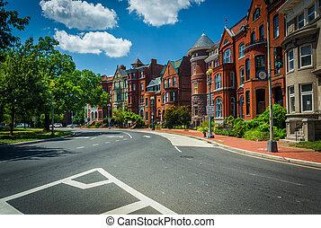 Historic row houses along Logan Circle, in Washington, DC.