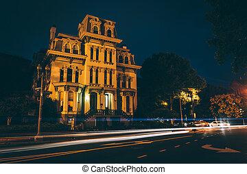 Historic house along Logan Circle at night, in Washington,...