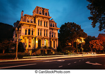 Historic house along Logan Circle at night, in Washington,...