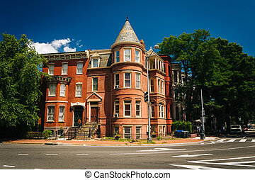 Historic houses at Logan Circle, in Washington, DC.